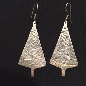 Vintage MCM Mexican Silver Christmas Tree Earrings